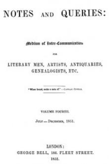 Notes and Queries, Index of Volume 4, July-December, 1851
