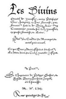Les Divins Oracles de Zoroastre, ancien Philosophe Grec, Interpretez en Rime Françoise, par François Habert de Berry