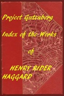 Index of the Project Gutenberg Works of Haggard by H. Rider Haggard