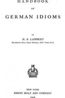 Handbook of German Idioms by Marcus Bachman Lambert