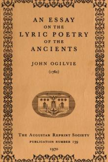 An Essay on the Lyric Poetry of the Ancients